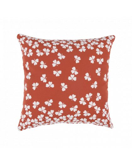 Coussin Trefle 44X44 Ocre Rouge