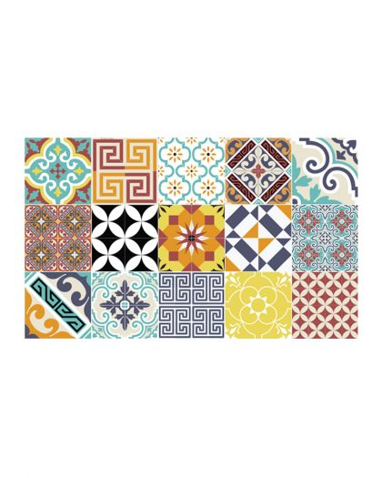 Tapis Vinyl Collection Eclectic Patchwork Multi Color 135/230
