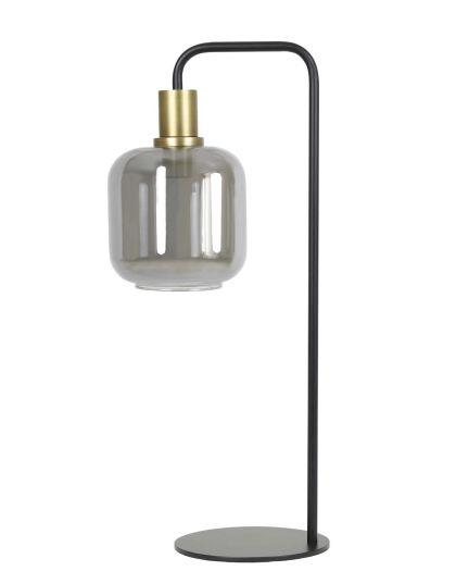 Lampe De Table Ø18X57,5 Cm Lekar Bronze Antique+Verre Fumé