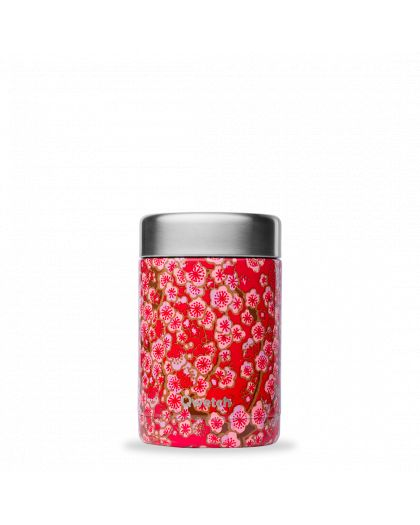 Boite Repas Soupe Isotherme, Inox Flowers 340Ml Rouge