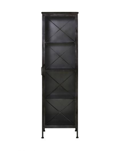 Cabinet Avec Porte En Verre 47X37X161,5 Cm Zepita Métal Brut