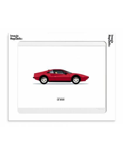 30X40 Cm Le Duo Voiture Ferrari 308 Gts Rouge