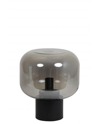 Lampe De Table Ø29,5X33,5 Cm Arturan Verre Fum Gris+Noir Mat